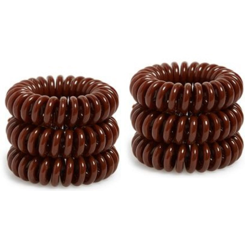 6 Brown Spiral Hair Ties Elastic Coils Brown Ponytail Holders Plastic Rubber Bands