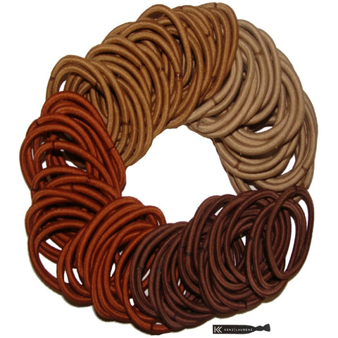 Hair Elastics 100 Pack Brown Ombre