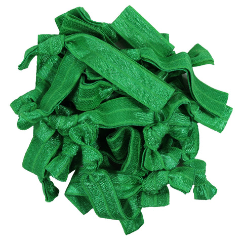 Hair Ties 20 Elastic Ponytail Holders Ribbon Knotted Bands Kelly Green