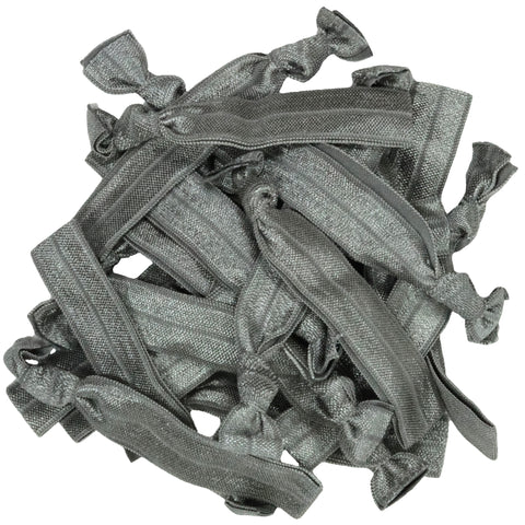 Hair Ties 20 Elastic Gray Ponytail Holders Ribbon Knotted Bands