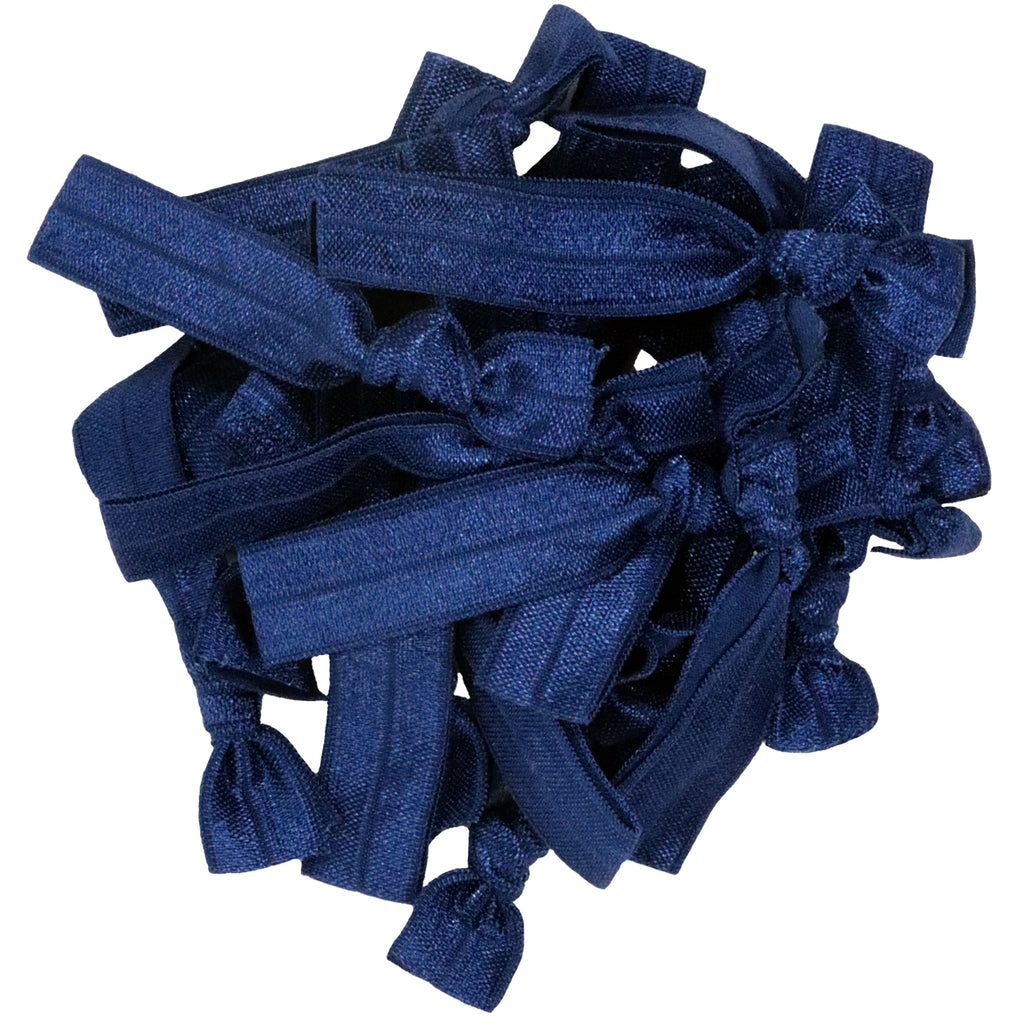 Hair Ties 20 Elastic Navy Ponytail Holders Ribbon Knotted Bands