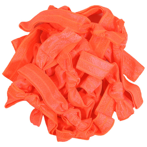 Hair Ties 20 Elastic Ponytail Holders Ribbon Knotted Bands Neon Orange