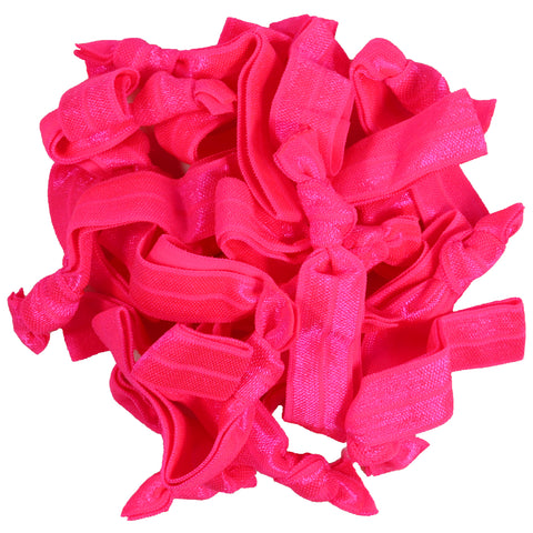 Hair Ties 20 Elastic Ponytail Holders Ribbon Knotted Bands Neon Pink