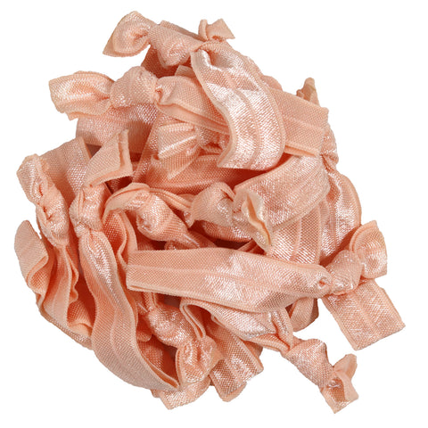 Hair Ties 20 Elastic Peach Ponytail Holders Ribbon Knotted Bands