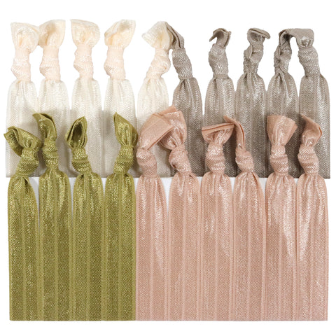 Hair Ties 20 Elastic Blonde Ombre Ponytail Holders Ribbon Knotted Bands