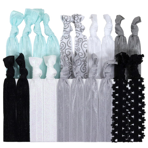 Hair Ties 20 Elastic Bridal Lace Ponytail Holders Ribbon Knotted Bands