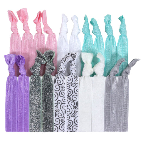 Hair Ties 20 Elastic Bridal Shower Ponytail Holders Ribbon Knotted Bands