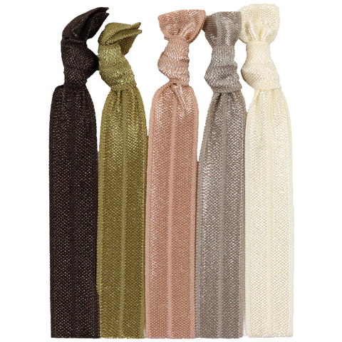 Hair Ties 5 Pack Brown Ombre