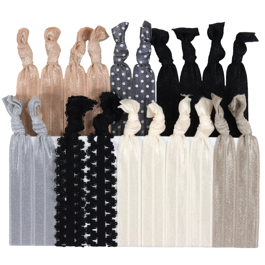 Hair Ties 20 Elastic Evening Lace Ponytail Holders Ribbon Knotted Bands
