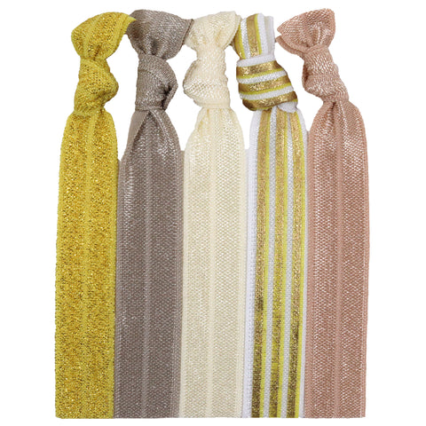 Hair Ties 5 Pack Gold Glitter Stripe