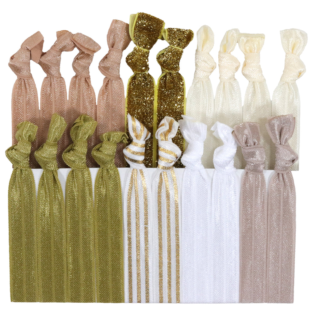 Hair Ties 20 Elastic Gold Shimmer Chevron Ponytail Holders Ribbon Knotted Bands