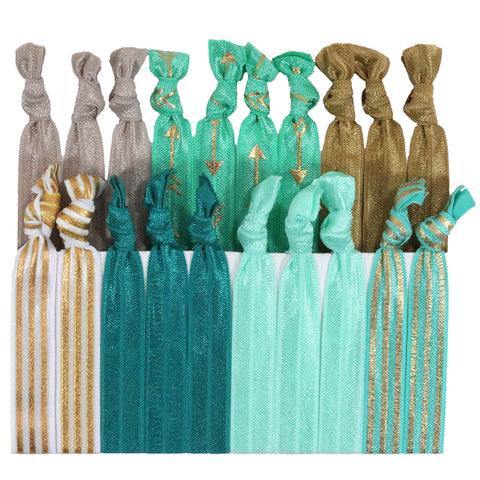 Hair Ties 20 Elastic Golden Arrow Ponytail Holders Ribbon Knotted Bands