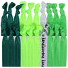 Hair Ties 20 Elastic Green Ombre Ponytail Holders Ribbon Knotted Bands