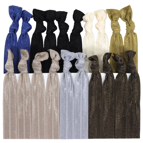 Hair Ties 20 Elastic Neutrals Ponytail Holders Ribbon Knotted Bands