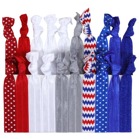 Hair Ties 20 Elastic 4th of July Ponytail Holders Ribbon Knotted Bands