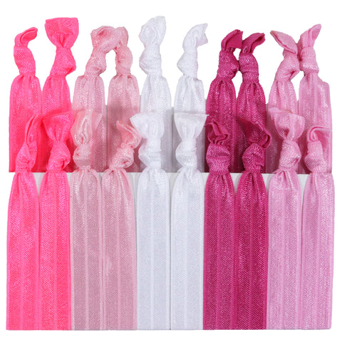 Hair Ties 20 Elastic Pink Ombre Ponytail Holders Ribbon Knotted Bands