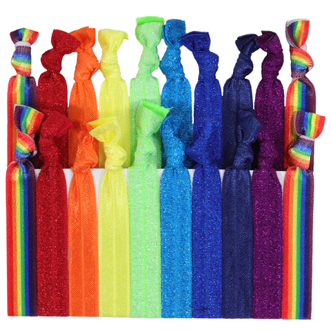 Hair Ties 20 Elastic Pride Ponytail Holders Ribbon Knotted Bands