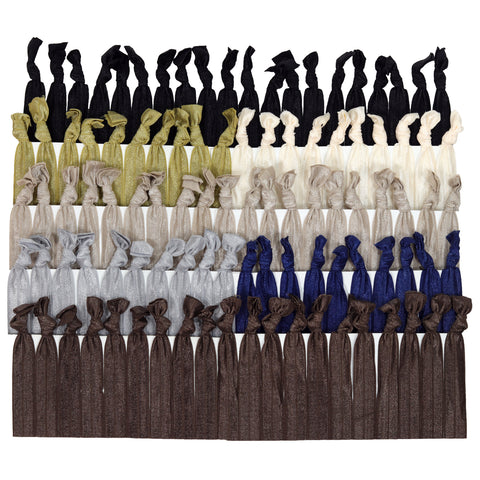 Hair Ties 100 Elastic Neutrals Ponytail Holders Ribbon Knotted Bands