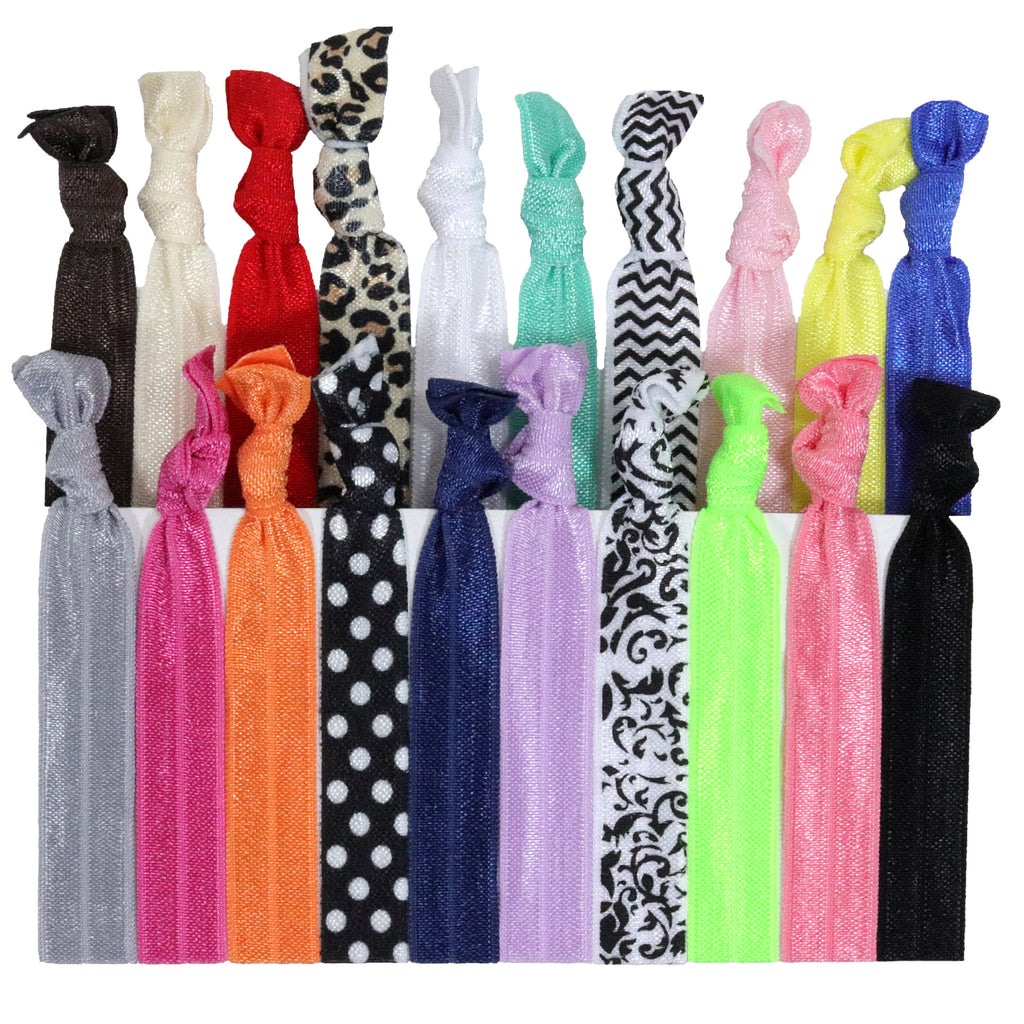 Hair Ties 20 Elastic Prints and Solids Ponytail Holders Ribbon Knotted Bands