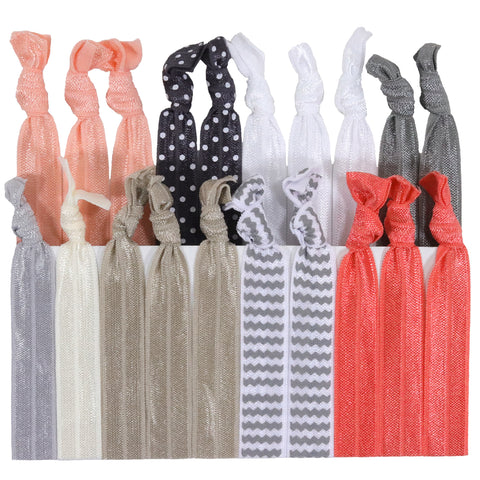 Hair Ties 20 Elastic Silver Peach Ponytail Holders Ribbon Knotted Bands