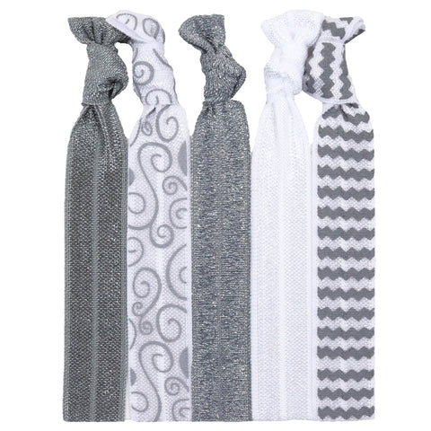 Hair Ties 5 Pack Silver Glitter