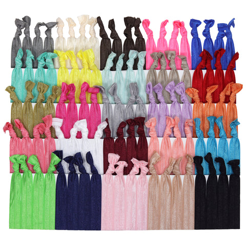 Hair Ties 100 Elastic Solids Ponytail Holders Ribbon Knotted Bands