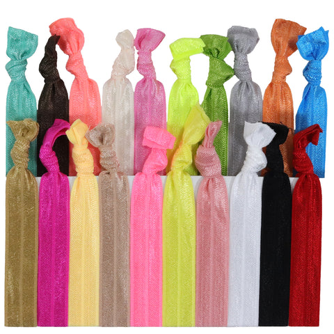 Hair Ties 20 Elastic Solid Ponytail Holders Ribbon Knotted Bands