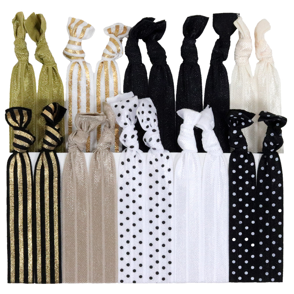 Hair Ties 20 Elastic Sophisticated Ponytail Holders Ribbon Knotted Bands