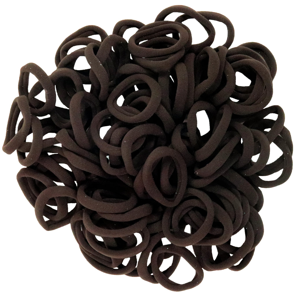 Hair Ties Terry Elastics 100 Pack Brown