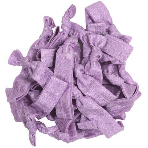 Hair Ties 20 Elastic Light Purple Ponytail Holders Ribbon Knotted Bands