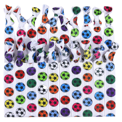 Hair Ties 20 Elastic Rainbow Soccer Ponytail Holders Ribbon Knotted Bands