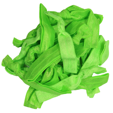 Hair Ties 20 Elastic Neon Green Ponytail Holders Ribbon Knotted Bands