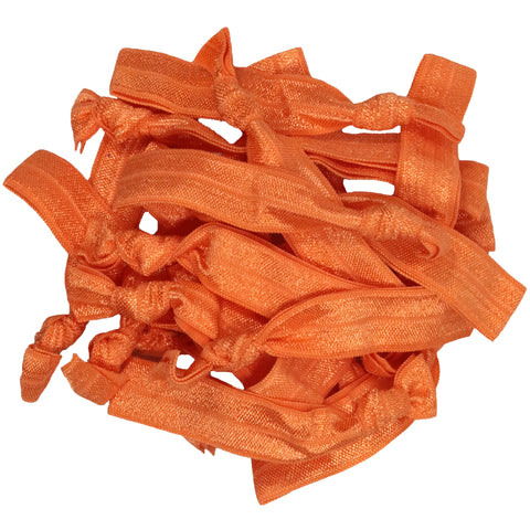 Hair Ties 20 Elastic Orange Ponytail Holders Ribbon Knotted Bands