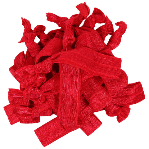 Hair Ties 20 Elastic Red Ponytail Holders Ribbon Knotted Bands