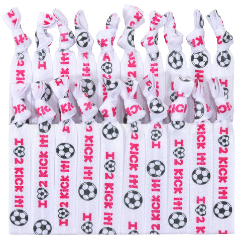 Soccer Hair Ties 20 Elastic Soccer Love To Kick It Ponytail Holders Ribbon Knotted Bands