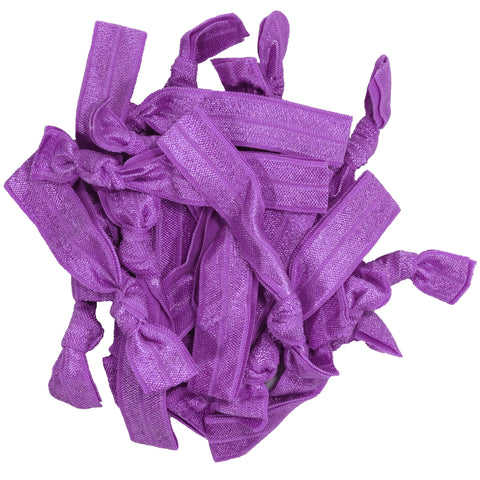 Hair Ties 20 Elastic Purple Ponytail Holders Ribbon Knotted Bands