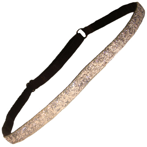 Adjustable Glitter Headband 1 Silver