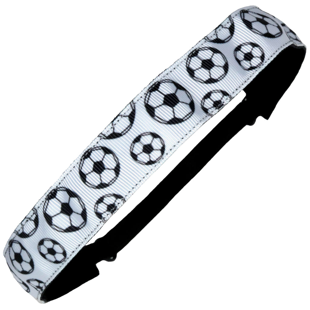 Adjustable Soccer Headband Black and White 12