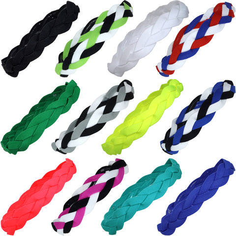 Non Slip Sports Headbands 12 Braided Athletic Head Bands Assorted