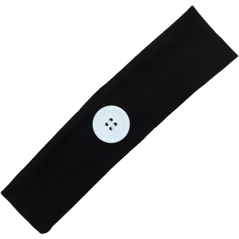 Button Ear Saver Cotton Headband Soft Stretch For Nurses Healthcare Workers Black