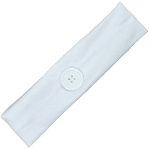 Button Ear Saver Cotton Headband Soft Stretch For Nurses Healthcare Workers White