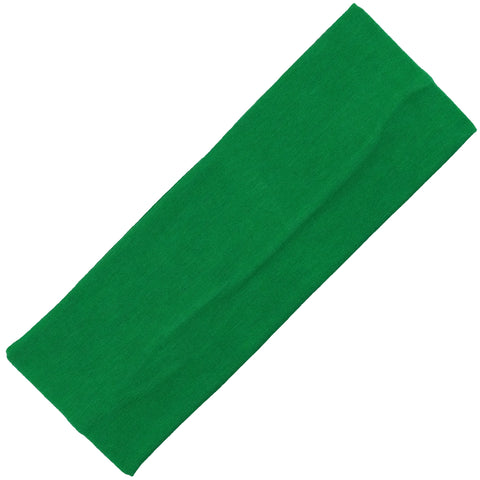 Wide Cotton Headband Soft Stretch Headbands Sweat Absorbent Elastic Head Band Green