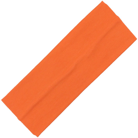 Wide Cotton Headband Soft Stretch Headbands Sweat Absorbent Elastic Head Band Orange