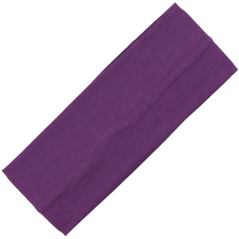 Wide Cotton Headband Soft Stretch Headbands Sweat Absorbent Elastic Head Band Purple