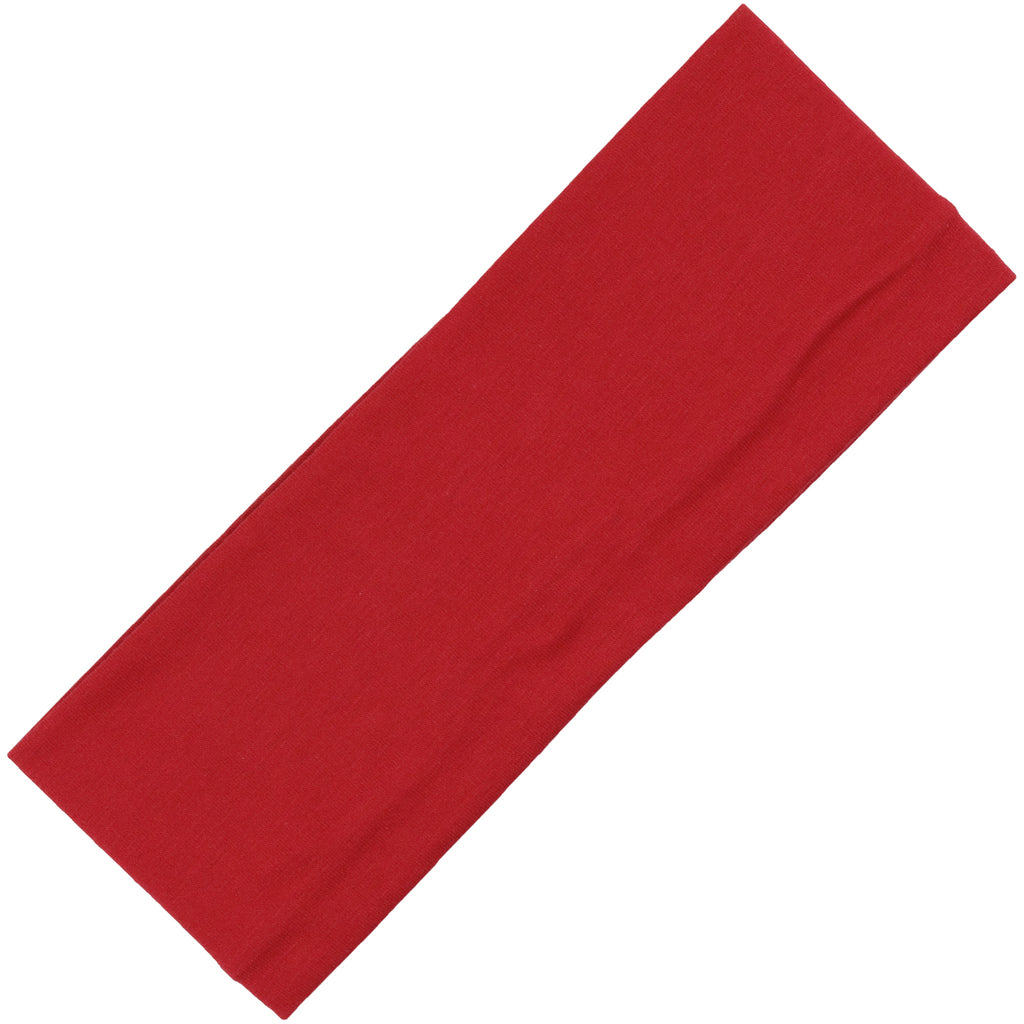 Wide Cotton Headband Soft Stretch Headbands Sweat Absorbent Elastic Head Band Red