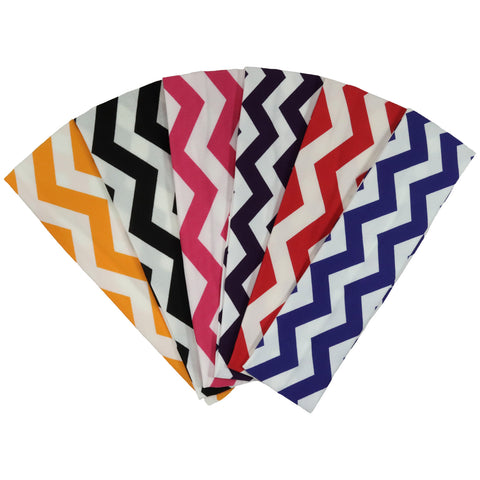 Cotton Headbands 6 Soft Stretch Headband Sweat Absorbent Elastic Head Bands Chevron Set