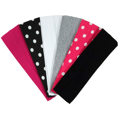Cotton Headbands 6 Soft Stretch Headband Sweat Absorbent Elastic Head Bands Polka Dots Set
