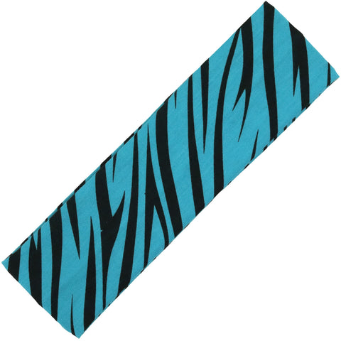 Cotton Headband Soft Stretch Headbands Sweat Absorbent Elastic Head Band Zebra Teal