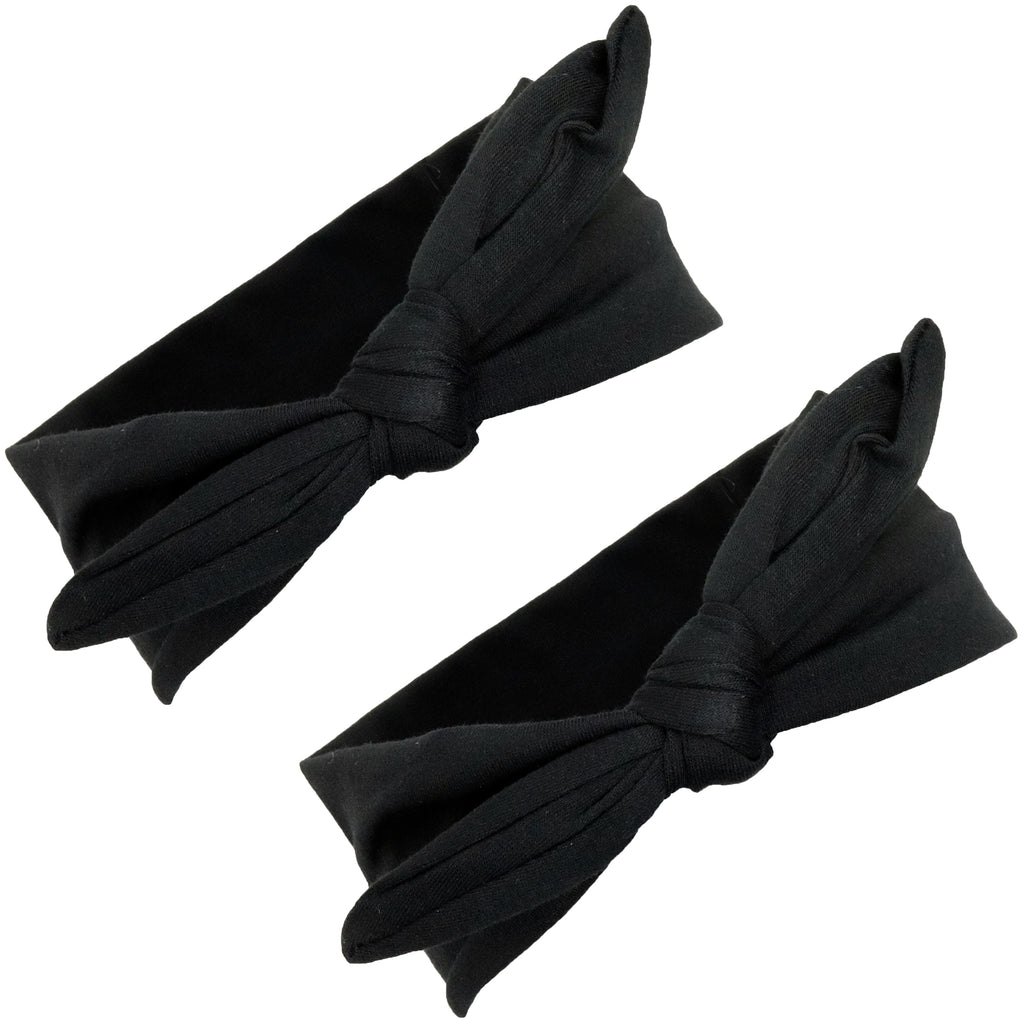 Knotted Bow Cotton Stretch Headbands Black 2