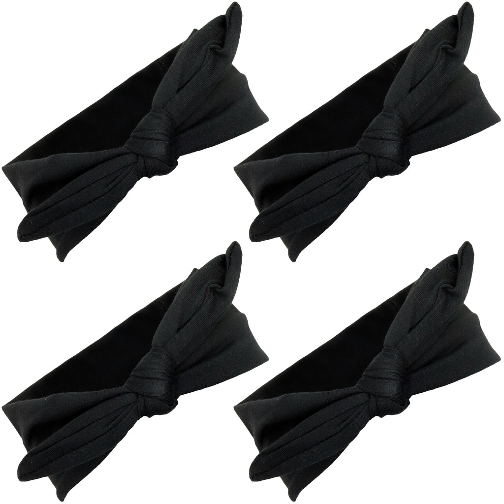 Knotted Bow Cotton Stretch Headbands Black 4